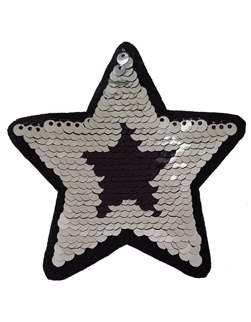 Patch ster zwart zilver
