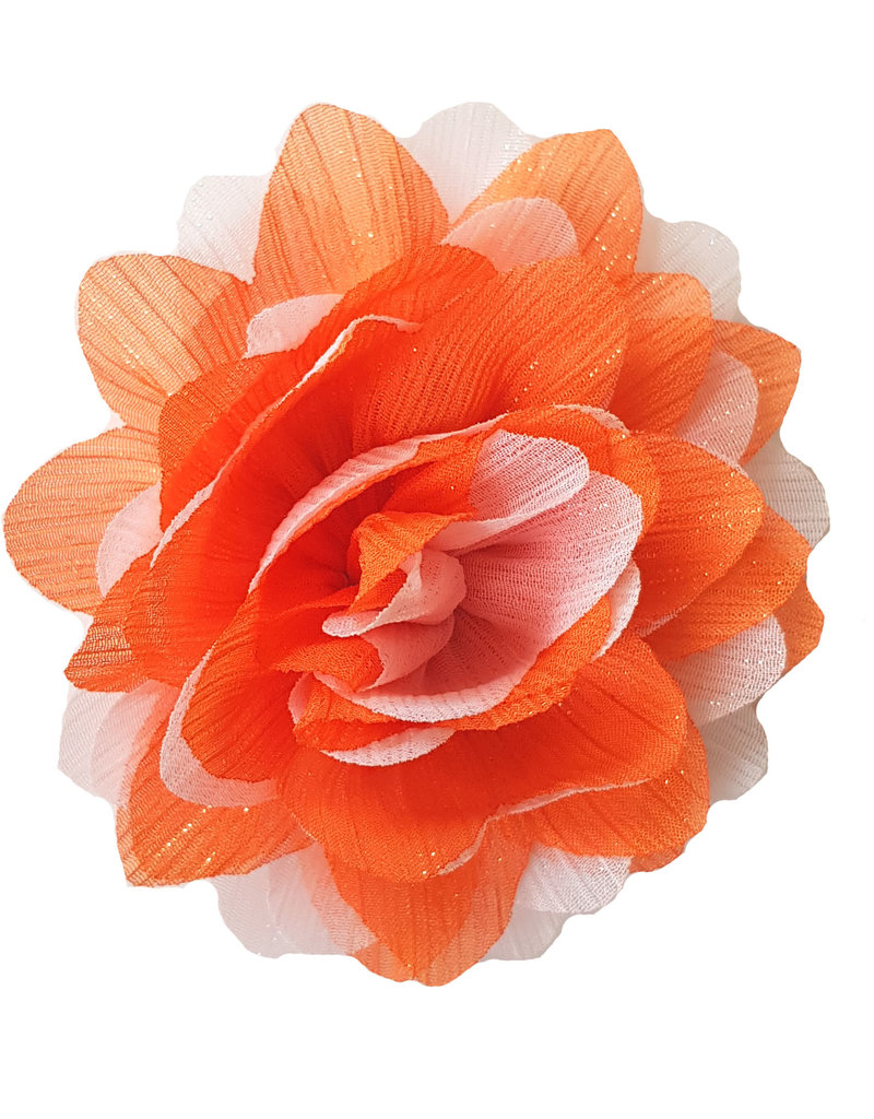 Gestreepte bloem oranje-wit