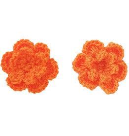 Drukkerapplicatie gehaakte bloempjes (per paar) oranje
