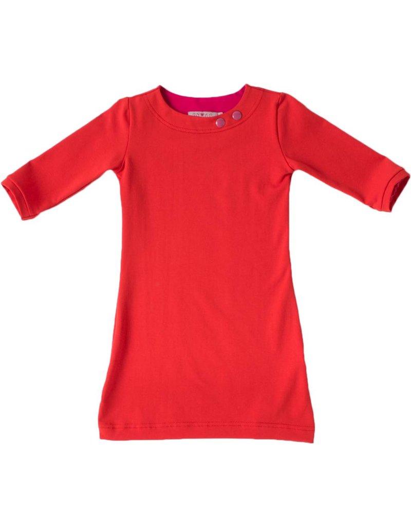 Basis jurk met driekwart mouwen in de kleur Rood