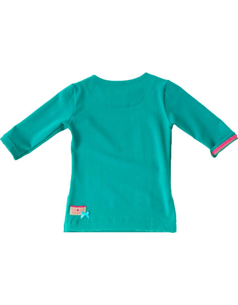 Shirt 'Basic' met driekwart mouwen in de kleur Petrol