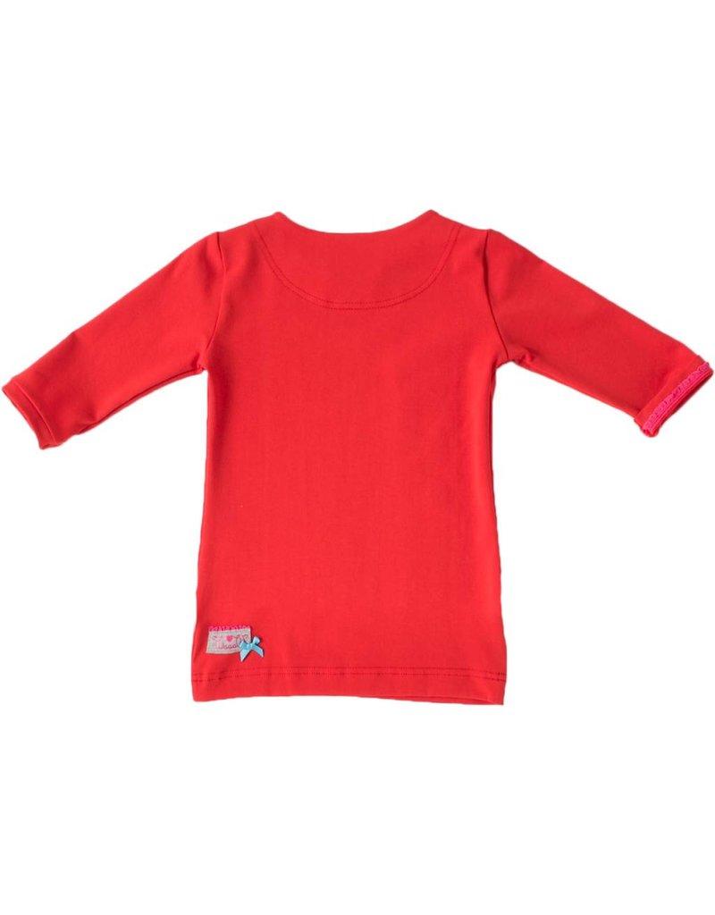 Shirt 'Basic' met driekwart mouwen in de kleur Rood