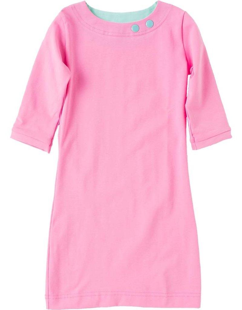 Jurk 'Basic' met driekwart mouw Licht roze