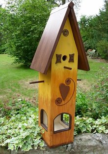 Handgemaakte en handgeschilderde Vogelvoederhuizen! Bird Feeder House Heart Summer
