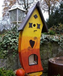 """Handgemaakte en handgeschilderde Vogelvoederhuizen! Bird Feeder House """"Sunset"""""""