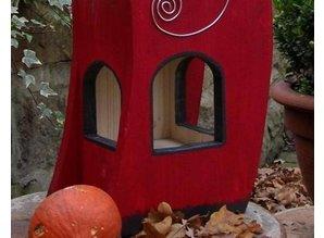 Handgemaakte en handgeschilderde Vogelvoederhuizen! Vogelvoederhuis Red Snack House