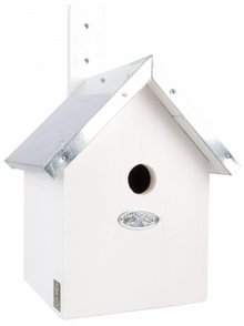 Birdhouses in white (great for blue tit, coal tit, crested tit or matkop)