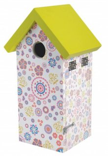 Birdhouse for the blue tit with flower print