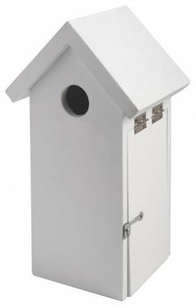 Modern Birdhouses with a gable roof in white color (FSC certified pine, size 32 x 6 cm)