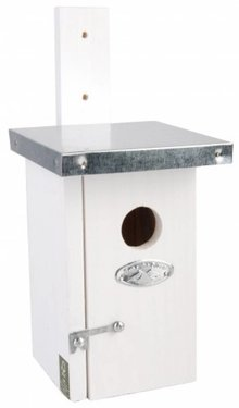 Moderne Vogelhuisjes in de kleur wit (geschikt voor de winterkoning)