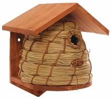 Bijenhuis nestkast (FSC gecertificeerd vurenhout en riet, afmeting 20,1 x 19,3 x 25,8 cm)
