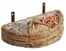 Wall-feeding basket with different bird feeders (size 24 x 12 x 5 cm, including bird)