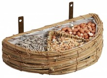 Wall-feeding basket with different bird feeders (size 24 x 12 x 5 cm, including bird)