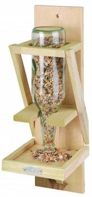 Handige houten Vogelvoederhouder (geschikt voor een glazen fles)