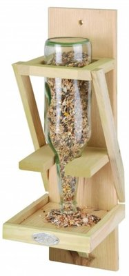 Handy wooden bird feeder holder (suitable for glass bottle)