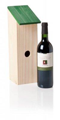 Houten Vogelhuis (passend voor een fles wijn van 0,75 liter)