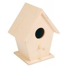 Blank houten vogelhuisjes (om zelf te beschilderen of te beplakken, afmeting 12 x 9,5 x 7 cm)