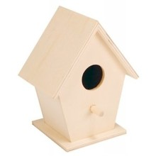 Blank wooden bird houses (to paint themselves or sticking, size 12 x 9.5 x 7 cm)