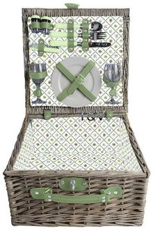 """Luxe picknickmanden """"Small Greeny"""" voor 2 personen (incl. bestek en servies)"""