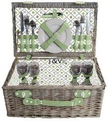 """Luxe picknickmanden """"Big Greeny"""" voor 4 personen (incl. bestek en servies)"""