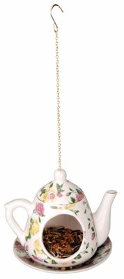 Teapot with saucer as bird feeder holder (floral print Assorted)