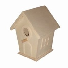 Cheap wooden birdhouses with relief windows and doors (to pimp yourself) size 12 x 10 x 9 cm