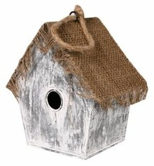 "Buy Cheap Birdhouses? Birdhouse ""Witch House"" (low model, made of jute and zinc)"