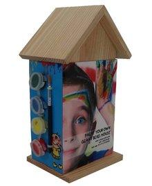Blank houten Vogelhuisjes om zelf te schilderen (incl. 4 kleuren verf en penseeltje)