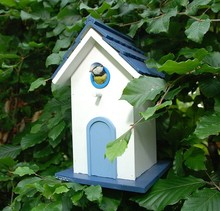 Luxe design vogelvilla in de kleur wit met blauw