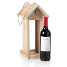 Vogelvoederhuisje passend voor een goede fles rode wijn (inclusief 1 fles rode wijn)