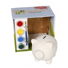 Paintable Piggy bank in gift box (including 4 different colors of paint and brush)