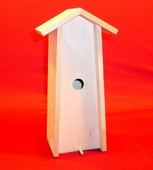 Blank wooden Birdhouse suitable for 1 bottle of 0.75 liters (upright model, internal dimensions 345 x 110 x 90 mm)