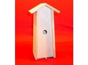 Blank houten staand Vogelhuisje passend voor 1 fles wijn!