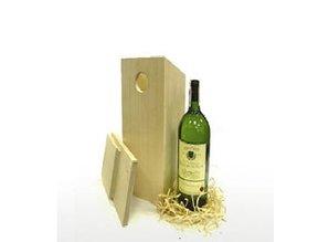Blank houten Vogelhuisje passend voor 1 fles wijn!