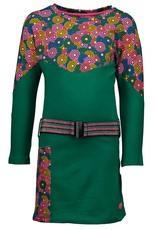 Kidz Art Girls dress l/s plain/allover cut & sewn + elastic belt
