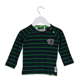 B. Nosy baby raglan stripe shirt with patch. plain backside