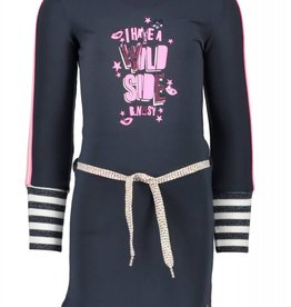 B. Nosy girls dress with big striped cuffs and knitted contrast tape on sleeves - Peacock