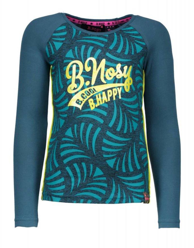 B. Nosy girls ls raglan t-shirt with AO printed body and contrast plain sleeves - Aqua sky