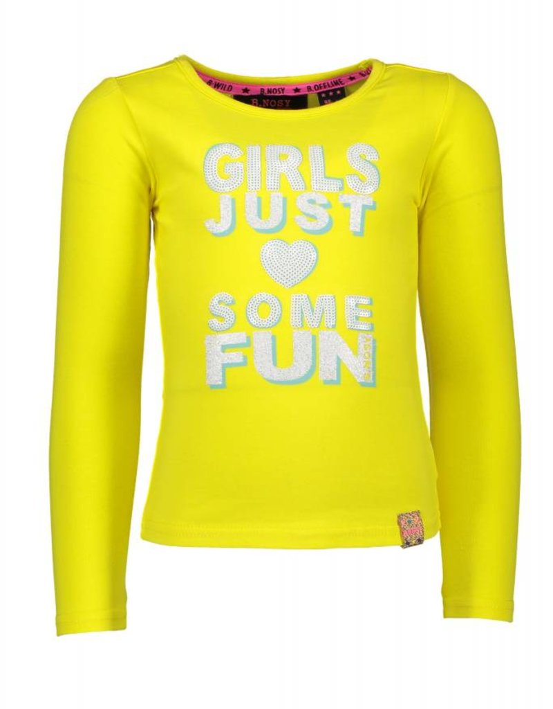 B. Nosy girls plain ls t-shirt with knitted tape on the back - Canary