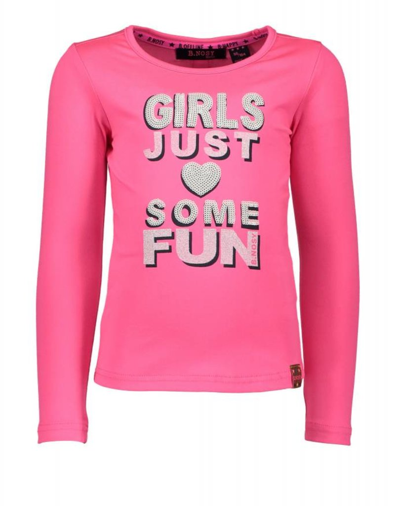 B. Nosy girls plain ls t-shirt with knitted tape on the back - Neaon Magenta