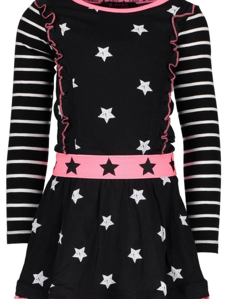 B. Nosy girls AO printed ls dress with ruffles on front