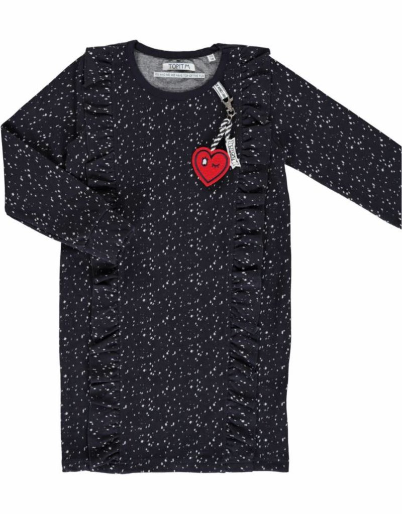 TOPitm Dress Cynthia Dots  dark blue