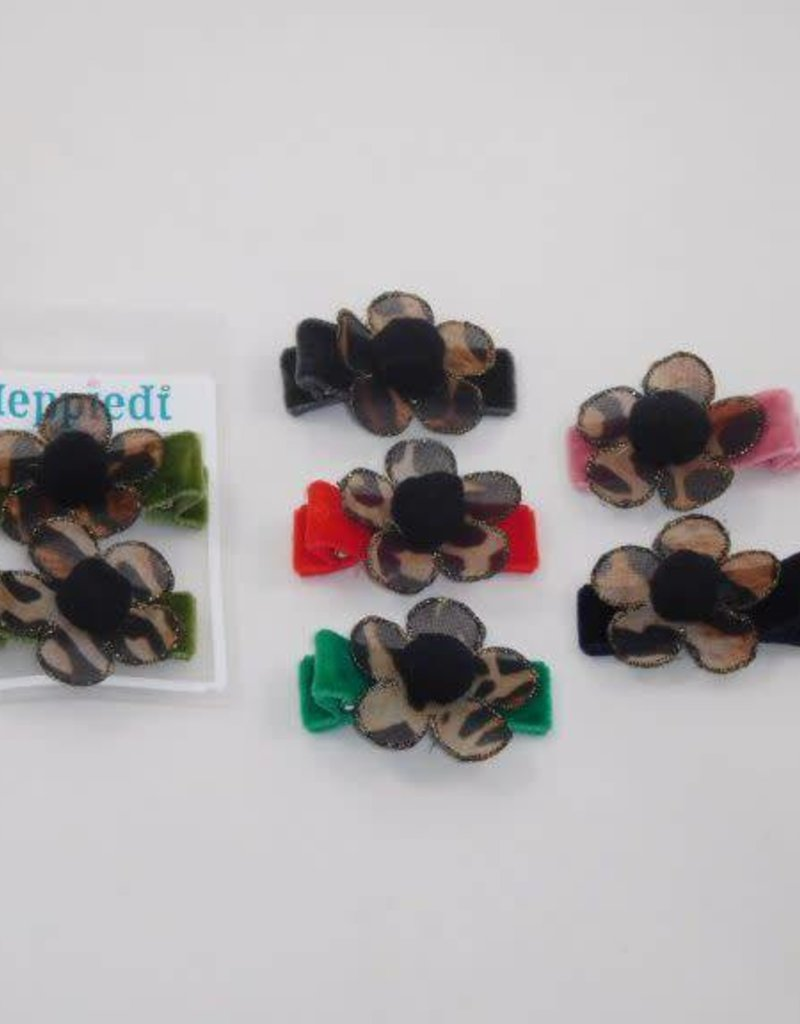 Heppiedi Haarknijper fluweel met bloem + pompoen 6 assorti