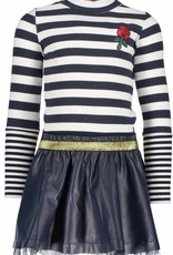 B. Nosy Girls dress with rib stripe top and fake leather skirt peacook