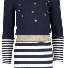 B. Nosy Girls dress with stripe skirt, elastic in wb, plain top peacook
