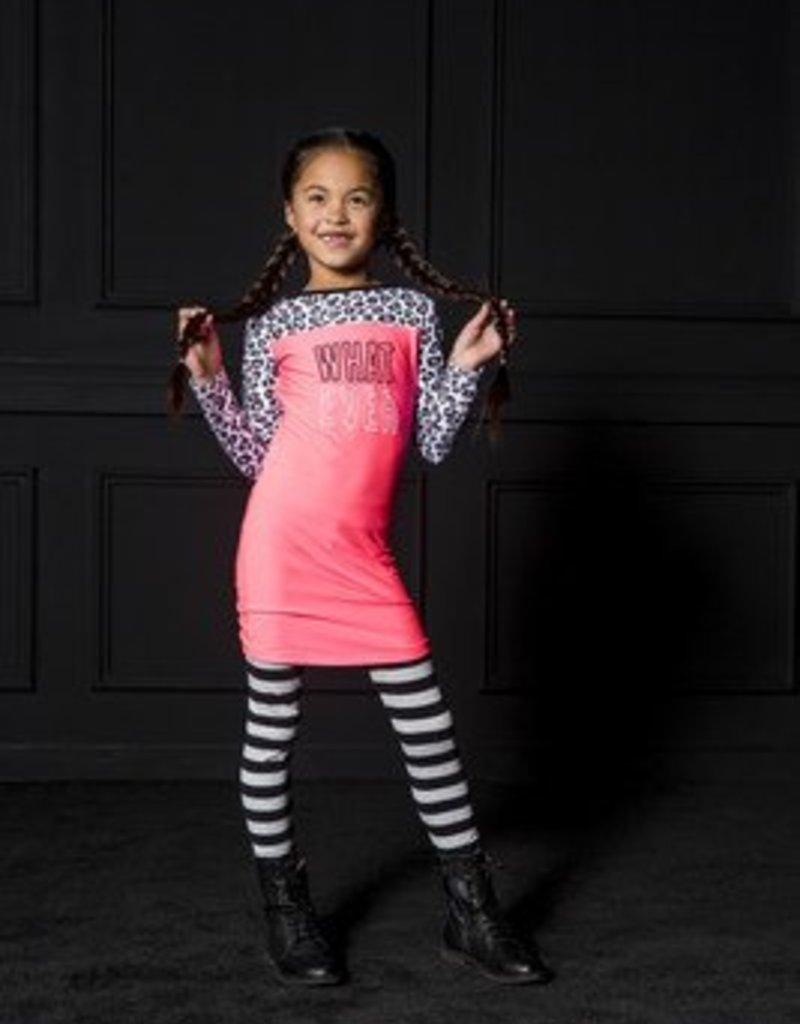 B. Nosy Girls dress with contrast print sleeves (candy 286)