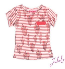 Jubel T-shirt k/m streep/AOP La Isla