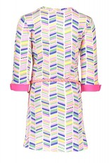 Kidz Art Kidz Art - Dress roll-up sleeves allover print + fancy belt