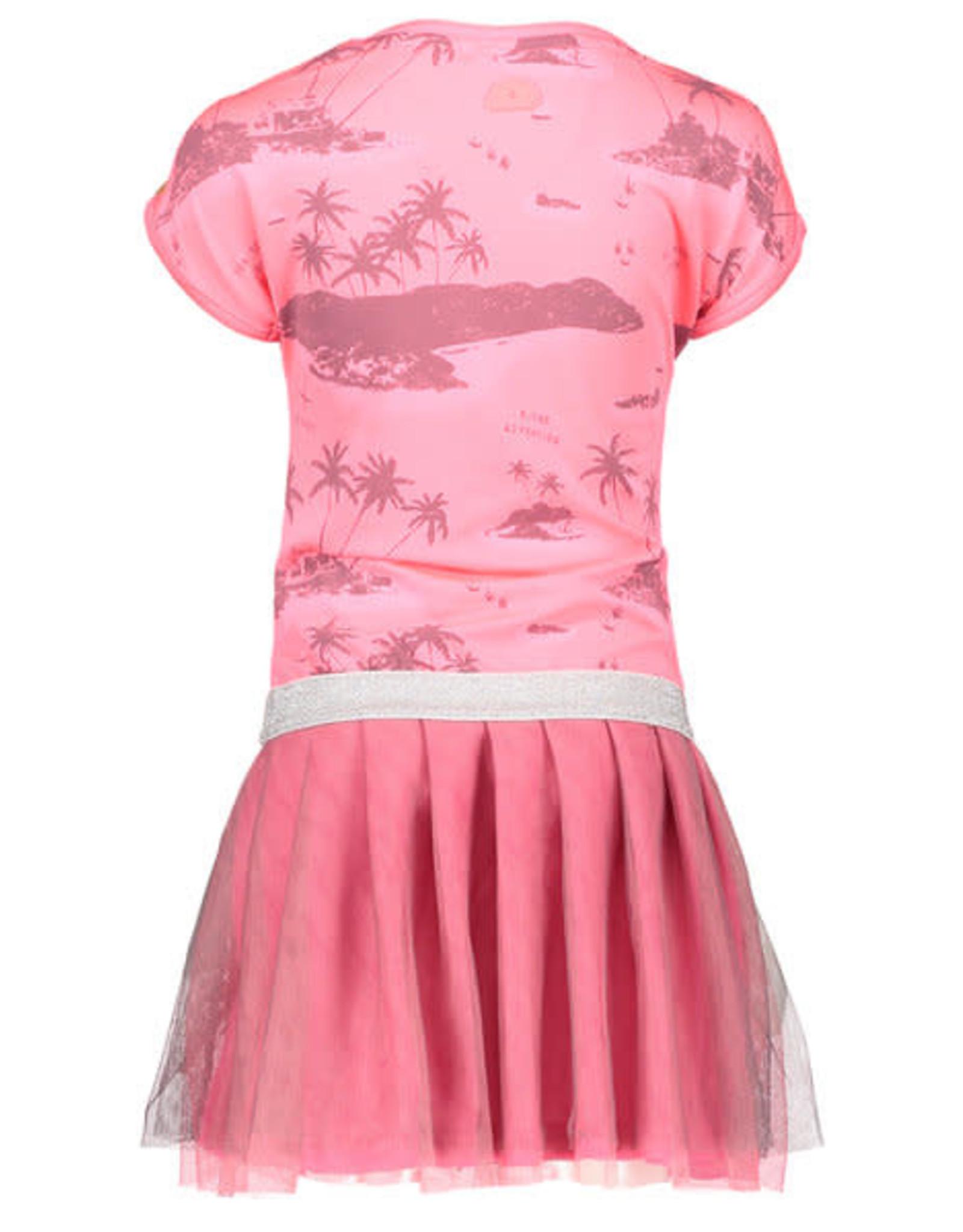 B. Nosy Girls jersey aloha dress with double layer netting