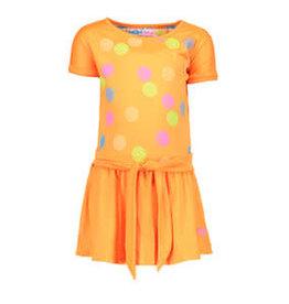 Kidz Art Dress s/s panel print dots + knotted waist